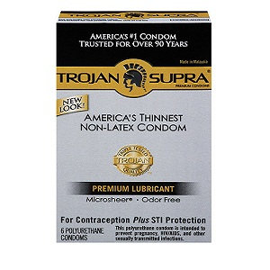 Trojan NON LATEX<br>Supra BareSkin Polyurethane Condoms<br>(6ct box)