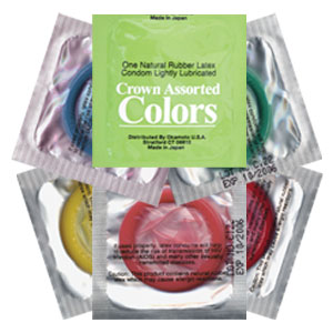 Crown Assorted Colors Condoms<br>(1008/case)