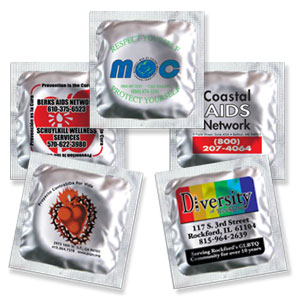 Custom Labeled Assorted Colors Condoms w/SILVER foil one side