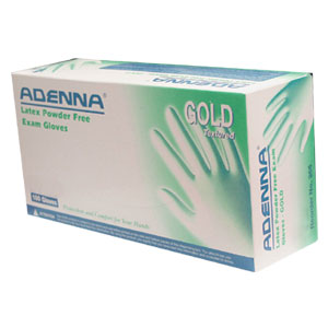 Adenna Gold - Latex powder free textured glove surface.