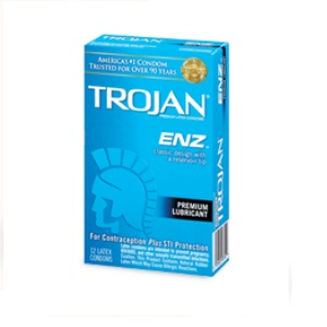 Trojan Enz Lubricated condoms 12's vertical pack