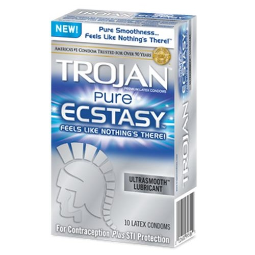Trojan Pure Ecstasy Ultrasmooth Lubricated Condoms 10ct<br>bundle of 4 x 10ct (exp 3-2020)