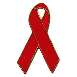 AIDS Awareness Red Ribbon Metal Pins (25/bag)