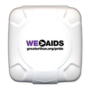 """Greater Than AIDS"" Condom Pal™ Assortment with GTA Pride purple/white theme label (50/box)"
