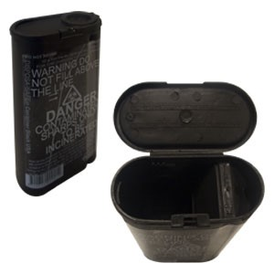 Fitpack DISPOSA-SAFE 250ml Sharps Container<br>Black w/ Divider Top<br>(100/case)