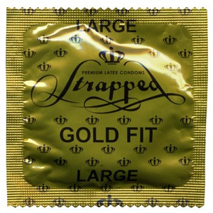 Strapped Large Gold Fit lubricated condoms<br>CURRENTLY NOT AVAILABLE