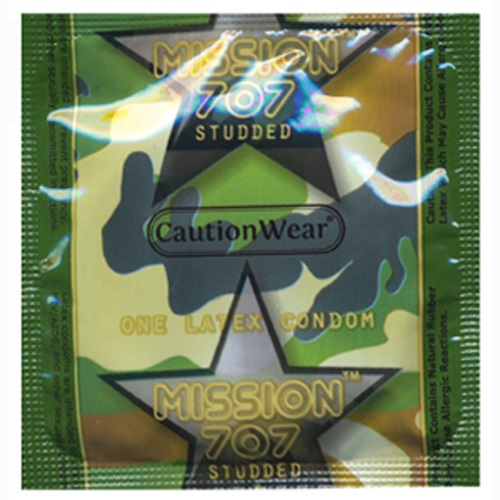Discontinued - Caution Wear Mission 707 Studded Lubricated Condoms<br>(1000/case)