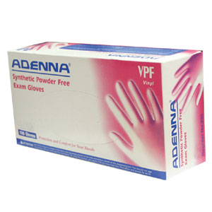 Adenna VPF - Vinyl gloves, powder free, and 100% latex free.
