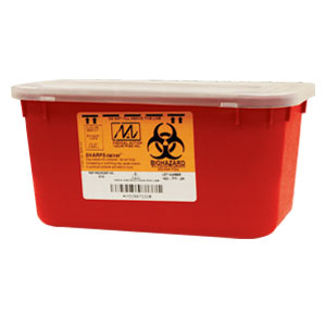 Medegen 8703 Stackable Sharps Container, Red/Black, 1 Gallon Capacity, 10