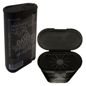 Fitpack 'DISPOSA-SAFE'<br>Personal Sharps Container<br>250 ml Black w/ Daisy Top<br>(100/case)