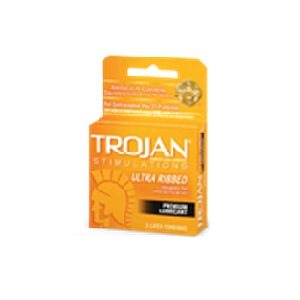 Trojan Stimulations Ultra Ribbed Lubricated Condoms 3ct