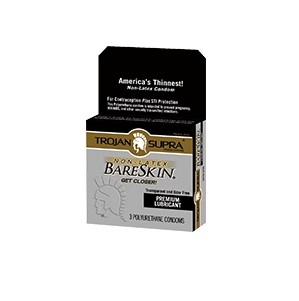 Trojan NON LATEX<br>Supra BareSkin<br>Lubricated Condoms<br>3ct box