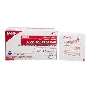 Alcohol Prep Pads<br>Dukal #861 Sterile, Large, 2 Ply<br>(100bx, or Master Case of 10 x 100bx))