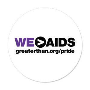 """Greater Than AIDS"" round label in GTA Pride theme -purple/white (1000 labels)"