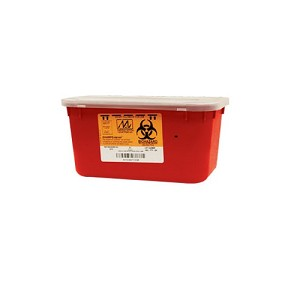 "Medegen 8703 Stackable Sharps Container, Red/Black, 1 Gallon Capacity, 10"" Width, 7"" Length, 5"" Height, (Case of 24)"