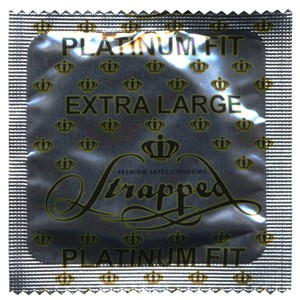Strapped X-Large Platinum Fit lubricated condoms<br>CURRENTLY NOT AVAILABLE